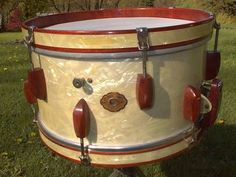 7x14 Slingerland Rolling Bomber snare drum. Notice the wood lugs, usually made of rosewood or walnut.