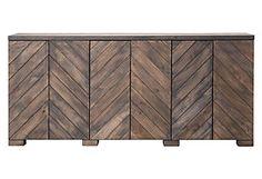 reclaimed wood in herringbone pattern.