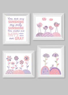 Bird Nursery Art Flowers Girl's Room Decor You Are My