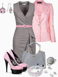 Love this dress & jacket -- but please -- No more Platforms! Ugh! Ladies Outfit Ideas ...