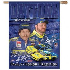 """Dale Earnhardt Jr. #3 Wrangler Vertical Flag: 27x37 Banner by WinCraft. $34.99. This is a must have for race day. Display your Dale Earnhardt Jr. pride with this vertical, one-sided banner. Durable polyester flag measures 27"""" x 37"""" with a 2.5"""" pole sleeve."""