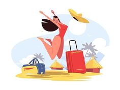 Happy smiling girl on beach vector illustration. Cheerful woman in red swimsuit jumping for joy. Golden sand, palm trees and blue sky on background. Character Flat, Character Design, Beach Illustration, Jumping For Joy, Happy Boy, Beach Design, Beach Scenes, Beach Girls, Travel Images