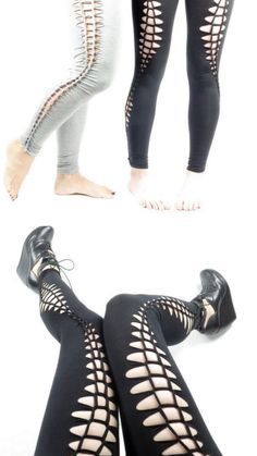DIY No Sew Slashed Leggings Tutorial from Intructables' User MikaelaHolmes.You can wear these leggings with tights underneath. Buy leggings cheaply at drugstores, Target etc…