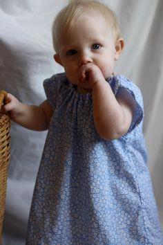Baby Toddler Easter Dress  Sky Blue Floral  by littlepearlquilts, $24.00