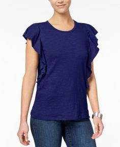 Style & Co Cotton Flutter-Sleeve T-Shirt, Created for Macy's - Blue XXL