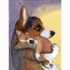 Busy Day Welsh Corgi dog signed ACEO print art by susanalisonart, $6.00