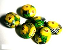 Handmade Polymer Clay Beads, Polymer Clay #Beads for Sale, Jewelry Making Supplies, Lentil Beads
