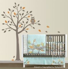 tree and owl decal in customizable colors