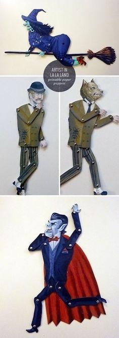 Printable Halloween Paper Puppets | Artist In La La Land