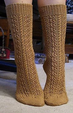 Ravelry: Cable and Lace Socks pattern by Lisa Gubbels Lace Socks, Crochet Socks, Knit Or Crochet, Crochet For Kids, Crochet Ideas, Knitted Slippers, Crochet Granny, Crochet Patterns, Cable Knitting Patterns
