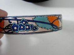 MODERNIST ENAMELED ORANGE & BLUE BANGLE BRACELET