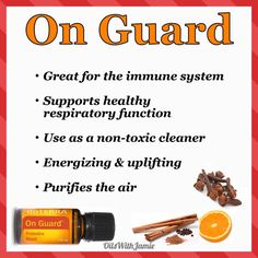 """ON GUARD is the Protective Blend"""" has Wild Orange, Clove, Cinnamon, Eucalyptus & Rosemary giving it a warm, spicy, & woody smell. These oils offer great immune support and can be used daily or during the times when you most need a quick immune boost! Emotionally, this is the """"Oil of Protection"""" and can assist in warding off negative personalities by providing extra strength and protection. Add 10 drops to a 1oz spray bottle, fill to the top with distilled water, and use as a hand spray!"""