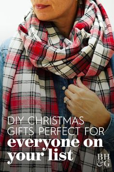 Tis the season for cozy! Skip the store and DIY your own oversize blanket scarf. All it takes is a few yards of flannel fabric and scissors #diyscarf #homemadegifts #giftideas #christmasgiftideas #bhg