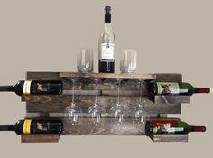 rustic wine rack farmhouse decor wine rack di TheWoodenOwl