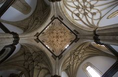 The Gothic vaulting of the chapel of one of the Colleges of the University of Salamanca: El Colegio Arzobispo Fonseca.