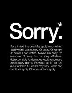 Sorry.* Art Print #sorry #wallart #words #poster #wallprint #typography #wordart #wallwords #wordposter