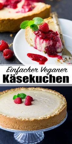 Vegan cheesecake with raspberries- Veganer Käsekuchen mit Himbeeren Vegan cake can be so delicious! My favorite variant: vegan cheesecake with raspberry sauce. So delicious and super easy! You can find more vegan recipes veganheaven. bake via - Cheesecake Vegan, Cheesecake Recipes, Dessert Recipes, Raspberry Cheesecake, Food Cakes, Snacks Sains, Raspberry Sauce, Savoury Cake, Clean Eating Snacks