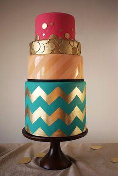 Amazing cake! #golden #chevron #cake