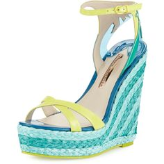 Sophia Webster Lucita Palm Espadrille Sandal ($395) ❤ liked on Polyvore featuring shoes, sandals, maya bay, shoes wedges, wedges shoes, braided sandals, ankle wrap wedge sandals, criss-cross sandals and woven wedge sandals