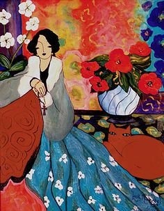 """laura mostaghel art   Mural Painting on Canvas """"Where Love Grows """" Acrylics & Oils 8ft X 5 ..."""