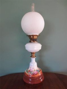ANTIQUE VICTORIAN(C1890)MESSENGERS HAND PAINTED PORCELAIN OIL LAMP-OPAL SHADE #ArtDecoVictorian #Lamps