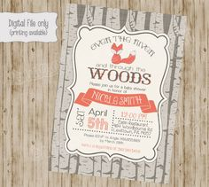 fox baby shower invitation woodland fox by SweetBeeDesignShoppe