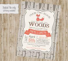 fox baby shower invitation woodland fox by SweetBeeDesignShoppe
