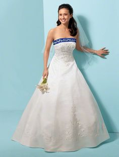 Alfred Angelo. Style 1612  ♥ Add This Dress to My Favorites  Satin, Net  Embroidery, Crystal & Pearl Beading, Sequins  Lace-Up Bodice Back  Semi-Cathedral Train  Optional Satin Halter Strap  Optional Reversible Modesty Piece  Dress available in White or Ivory.