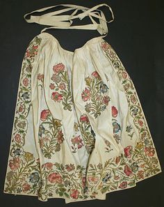 Apron, first quarter 18th c; British, silk+metal thread