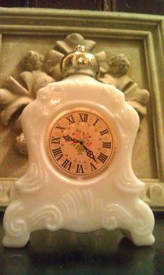 Vintage AVON MILK GLASS Clock Decanter by Amandolyncozycottage, $6.75