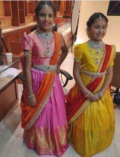 Small girls in heavy diamond choker vaddanam by tibarumal Frocks For Girls, Kids Frocks, Dresses Kids Girl, Kids Outfits, Kids Saree, Kids Lehenga, Lehenga Saree, Sarees, Kids Dress Wear