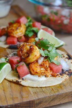 Shrimp Tacos with Watermelon Pico de Gallo | Always Order Dessert
