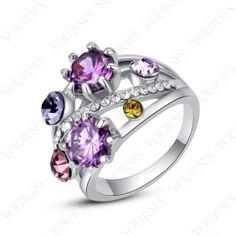 Gorgeous Multi-Sapphire Fashion Ring 18K White Gold Plated Charm Swarovski Crystal R159W2