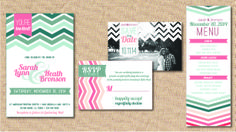 Teal and Coral Chevron Wedding Package