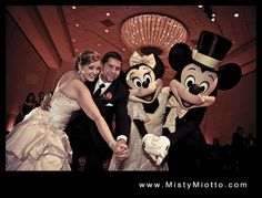 Minnie and Mickey Mouse at a Disney wedding