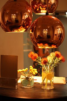 Would love these over my rustic kitchen table - the combo of modern and rustic would look cool with all my copper