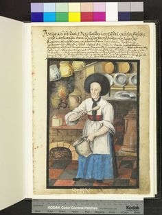 From: Die Hausbucher der Nurnberger Zwolfbruderstiftungen The chef is in her kitchen on the tile floor and holding hands in cooking spoon and mug. Behind her, in the corner of the brick hearth, a blazing fire next lidded earthenware vessels, at the front edge is a storage tin. Jars and various dishes are prepared on the two shelves on the walls. Right at the bottom there are three large copper pots. 1664