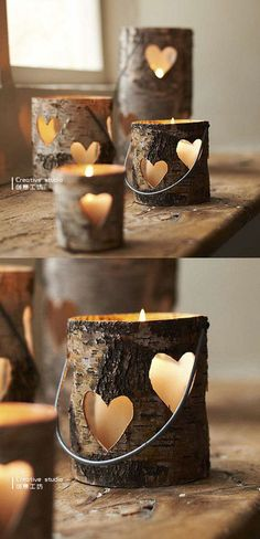 Cute looking hollow pieces of logs with heart shaped cut outs on the sides. Perfect as candle holders and gives out a pretty heart shaped light from afar.