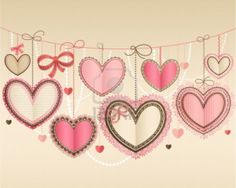 Image detail for -Valentine s Day vintage card with lacy paper hearts and place for text ...