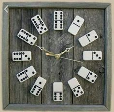 Domino clock on wood