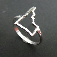 ID Idaho State Pride Silver Ring I Love Idaho Outline by yhtanaff
