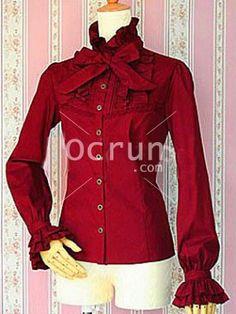 Baumwolle Rot Bow Lange Sleeves Baumwolle Lolita Bluse