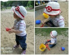 Cotton Summer  Hat for baby/toddler - Free Crochet  Pattern with photo tutorial