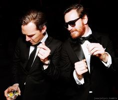 Benedict Cumberbatch and Michael Fassbender dancing after the 2014 Golden Globes.  You're welcome.