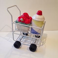 Shopping Cart Holding Strawberries and Whipped Cream Salt & Pepper Shakers