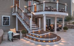 Outdoor deck lighting is essential for decking and other outdoor facilities. Outdoor deck lighting is specialized lighting and key to perfect restorative ambiance. Cool Deck, Diy Deck, Patio Deck Designs, Patio Design, Fence Design, Patio Under Decks, Small Patio, Outdoor Spaces, Outdoor Living