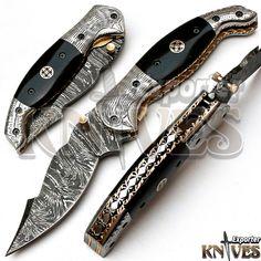 Knives Exporter New Custom made Damascus Steel Folding Knife Horn Handle KE-F76 #KnivesExporter