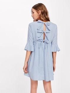 84875b9d086e Shein Bow Tie Open Back Fluted Sleeve High Waist Striped Dress Open Backs