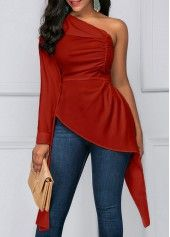 One Shoulder Asymmetric Hem White Ruched Blouse | Rosewe.com - USD $31.40
