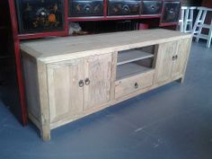 """Reclaimed Wood TV Cabinet, 68.5""""l x 22.25""""t x 17.5""""d,  $1,050 + $55 for nyc delivery."""